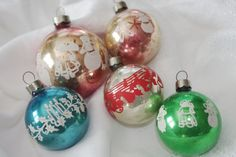 5 Vintage Glass Christmas Ornaments: All Colors by soldiersuzanne