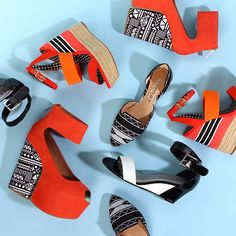 Go graphic with these bright wedges and flats in geometric prints!