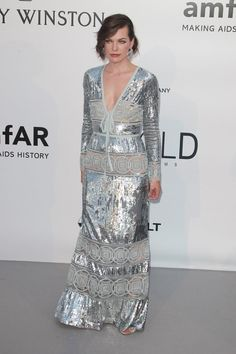 Pin for Later: Catch All the Glamour From the Most Stylish Fashion Party in Cannes Milla Jovovich Wearing Elie Saab.