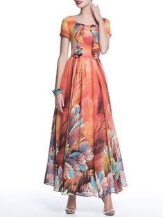 Orange A-line Boho Crew Neck Floral Maxi Dress