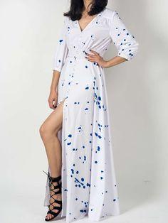 White V-neck Splash Print Empire Maxi Dress
