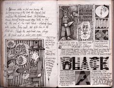 """John Vernon Lord ( """"A fish swallows a man's hand"""" A notebook drawing, September…"""