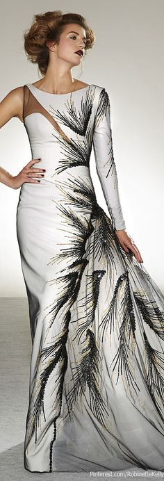 #Georges Chakra Couture | F/W 2013. Wow!! #black and white #evening dress