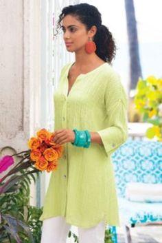 Crinkle Gauze Shirt - Ladies Summer Shirt, Gauze Cotton Shirt, Dolman Sleeve Shirt | Soft Surroundings