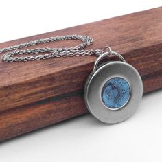 Slate Blue and Silver Round Handmade #Stainless #Steel #Necklace by Loralyn Designs