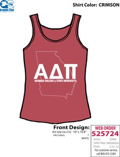 Love this simple tank with state outline + school name.