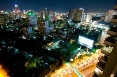 Busy Asoke intersection as seen from Long Table, Bangkok. Image by Austin Bush