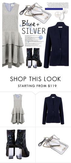 """Rock This Look: Blue and Silver"" by ifchic ❤ liked on Polyvore featuring mode, Edit, Atea Oceanie, Miista, Balmain, Mohzy, contestentry, colorchallenge, blueandsilver et ifchic"