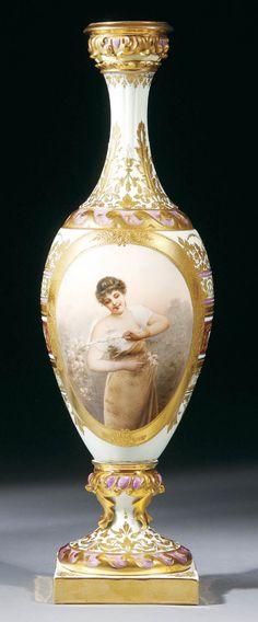 A Royal Vienna Style Portrait Vase, circa 1900.
