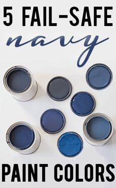 Five beautiful Benjamin Moore navy blue paint colors --- a decision to paint the master bedroom from View Along the Way blog.  July 2014.