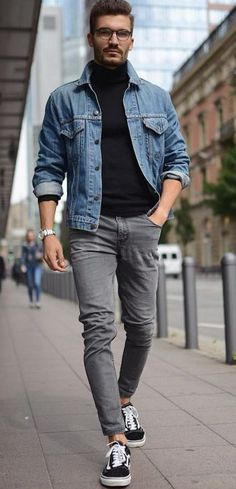 Perfect And Stylish Men Casual Outfit With Jacket 10 Chinos Men Outfit, Grey Jeans Outfit, Black Turtleneck Outfit, Grey Jeans Men, Jean Jacket Outfits, Men Denim Jacket Outfit, Jeans For Men, Black Denim Jacket Outfit, Vans Outfit Men