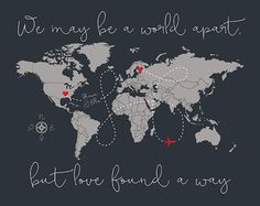 Long Distance Relationship Gift World Map, Gift for Boyfriend Gift for Girlfriend, LDR, Romantic Gift, Missing You Love Quote | WF577
