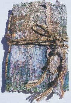 Angie Hughes is a textile artist and tutor who lives and works in Ledbury, Herefordshire. Her artwork is inspired by many themes, particula. Book Wraps, Fabric Art, Fabric Books, Fabric Journals, Art Journals, Stitch Book, Square Art, Creative Embroidery, Textiles