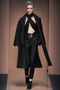 Gianfranco Ferre Fall 2013, Milan Fashion Week. The belts! The oversized lapels!