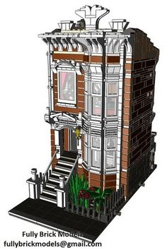 Lego American Brownstone Terrace Instructions Cafe Custom City Town Building | eBay