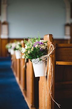 love these ikea diy pew ends!! spring florals church decor | onefabday.com