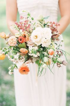 gathered wildflowers pastel boho wedding bouquet