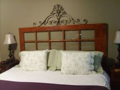 French door repurposed as a headboard...