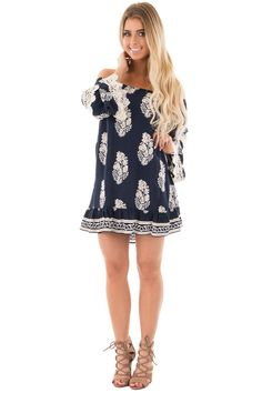 Lime Lush Boutique - Navy Printed Tunic Dress with Lace Detail Sleeves, $34.99 (https://www.limelush.com/navy-printed-tunic-dress-with-lace-detail-sleeves/)