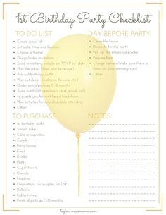 CLICK THROUGH for tips to help you plan your baby's first birthday party. Including a printable checklist to make first birthday party planning simple and stress free. A printable list of unique first birthday party theme ideas is also included! #DIYDecor