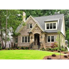 home exteriors - stone brick cottage Cottage style home in Atlanta ❤ liked on Polyvore