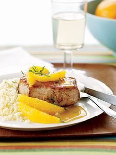 Save this pork chop recipe for a dreary winter day. The boneless chops topped with orange sections and draped with a Dijon-orange sauce will brighten moods and please palates.
