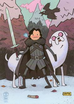 """finn snow and direwolf jake"" (got/adventure time mashup) 
