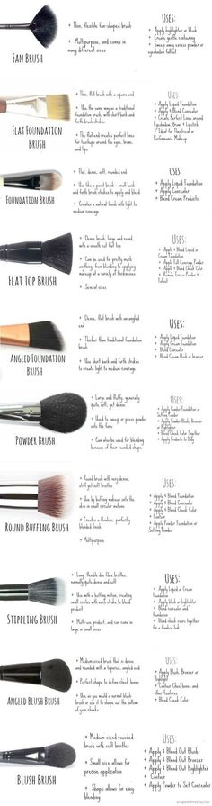 Face Brush Guide and Cheat Sheet! Right now Im definitely recommending the Nars Foundation Brush! Its been my favorite face brush of October! make up brushes guide 27 Charts That Will Help You Make Sense Of Makeup Beauty Make-up, Beauty Secrets, Beauty Hacks, Beauty Advice, Beauty Style, Beauty Land, Beauty Heroes, Beauty Killer, Beauty Guide