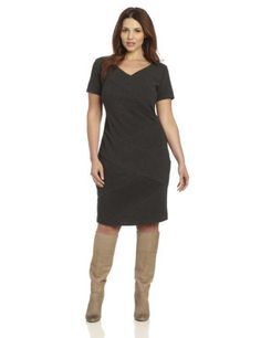 Agb Womens Plus-size V-neck Short Sleeve Spliced Dress  $80.00