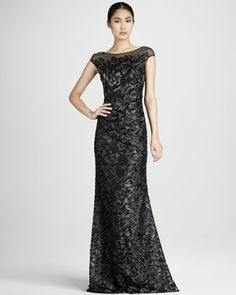 Beaded Illusion Dress by David Meister. There will never be an occasion fancy enough for me to wear this.
