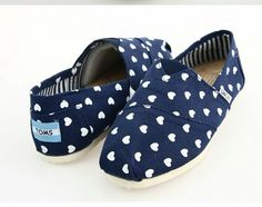 Cheap Toms Shoes Women Heart-shaped Blue for sale
