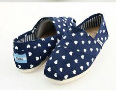 Cheap Toms Shoes Women Heart-shaped Blue for sale
