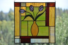 Tulips in Vase Stained Glass Panel by LittleGuppyGlasswork on Etsy