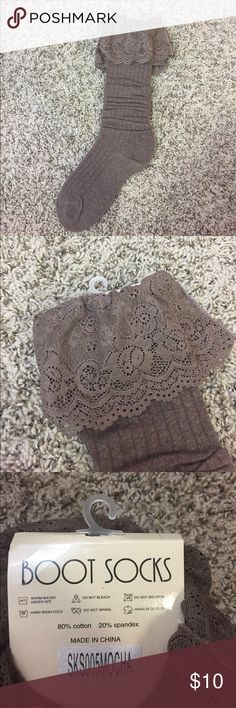 NWT Brown Frilly Boot Socks Brand new!! 80% cotton and 20% spandex Other