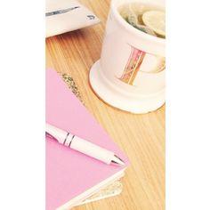 Gold monogram mug from Anthropologie and pink PaperThinks journal - Instgram: peytonfrank