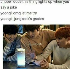 Lights up when you make a joke Jungkook's grades