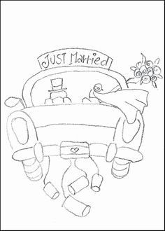 : Wedding Coloring Book Templates Beautiful Vintage Rose Coloring Pages Rose Coloring Pages, Wedding Coloring Pages, Cars Coloring Pages, Coloring Books, Just Married Auto, Baseball Card Template, Wedding Templates, Color Activities, Wedding Car