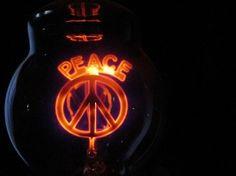Vintage Working Aerolux Peace & Peace Sign Light Bulb