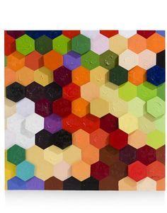 Painting Colorful Honeycomb - 100 x 100 cm - Youniq Decorations