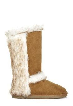 Get furry with a fuzzie that will keep you warm this winter. It features a fur trim detailing that goes to the back counter and a faux suede construction. | JustFab