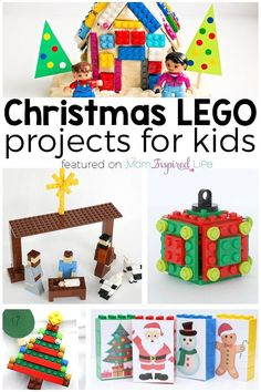 LEGO Christmas projects for kids. LEGO ornaments, LEGO crafts, LEGO advent activities and more! via @danielledb