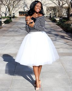 fashion blogger, stripe top, tulle skirt, street style, Space 46 tulle, cute skirt, bridal shower outfit inspiration