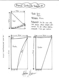 Esquema de modelagem de Biquini Cortininha tamanho PP.