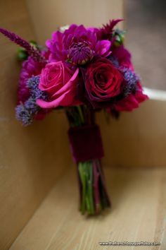 Crimson, Purple and Fuchsia Bouquet of Roses, Dahlias, Plumed Celosia, and Trachelium Designed by The French Bouquet - Josh McCullock Photography
