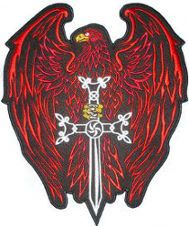 Eagle Sword (Red) Embroidered Back Patch from www.klicnow.com