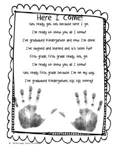Graduation from Pre-K poem using hand prints. Little Miss Kindergarten - Lessons from the Little Red Schoolhouse!: FREEBIE!