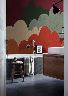#wallcovering #wallpaper #wetsystem #showerwallpaper System Wallpaper, Promotional Design, Bathroom Wallpaper, Shower Enclosure, Designer Wallpaper, Textures Patterns, Design Projects, Branding Design, Childhood