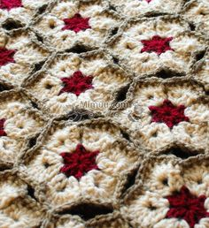 The White Hibiscus Hexagon Afghan pattern will have you itching to start crocheting these pretty crochet motifs. With a red center and white petals, these flower crochet hexagons are joined with the join as you go method. Crochet Afghans, Motifs Afghans, Crochet Motifs, Afghan Crochet Patterns, Crochet Squares, Knit Or Crochet, Granny Squares, Hexagon Crochet, Crochet Owls