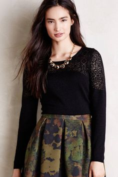 Anthropologie Nettie Pullover Sz M, Black Burnout Jacquard Top Knitted & Knotted #KnittedKnotted #ScoopNeck