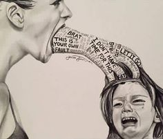 This is one of the Most Powerful Images I've ever Seen. Study it & Clean up your Act for the Sake of Your Children. Their Minds are Fragile, their Emotions run Deep...Don't destroy them Mentally because Words...you can Never Take Back.  Artist Jenna Simon, Facebook A Gentle Touch of Art.